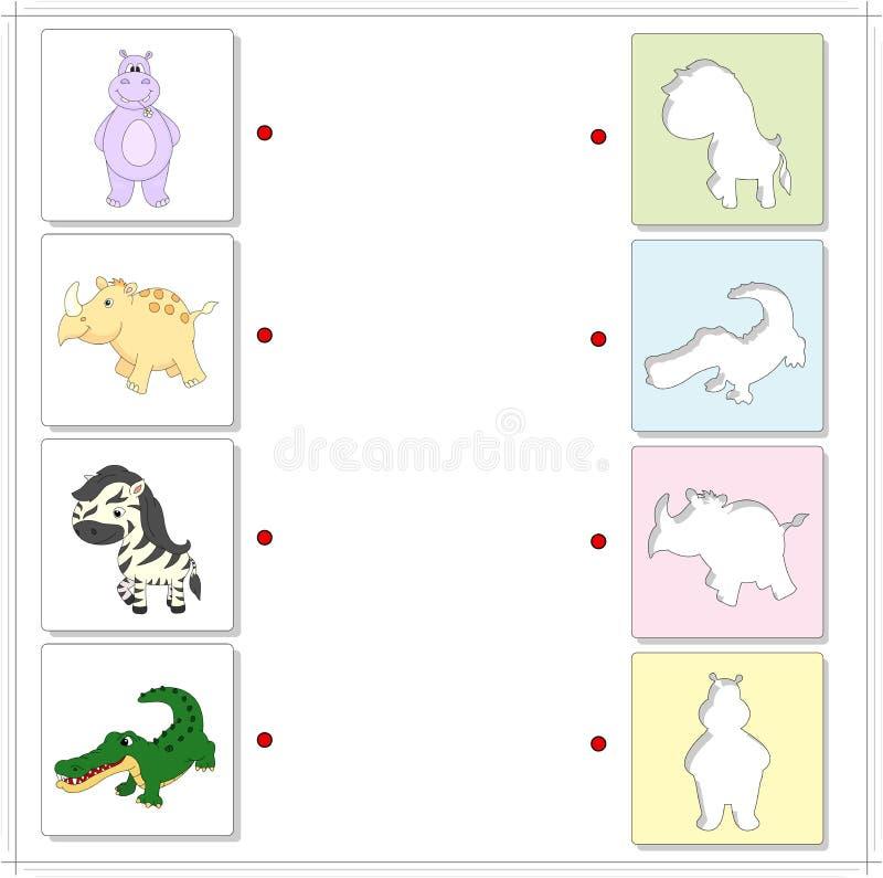 Flodhäst, noshörning, sebra och krokodil Bildande lek för ungar royaltyfri illustrationer