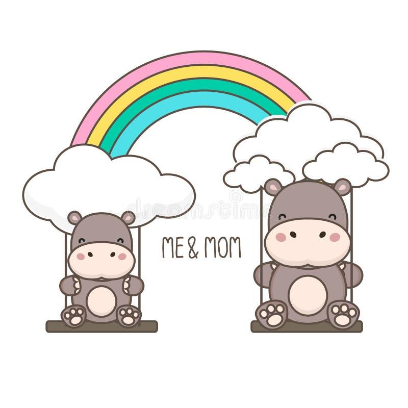 Flodhäst och att behandla som ett barn gunga på en regnbåge Moders illustration f?r vektor f?r kort f?r dag royaltyfri illustrationer
