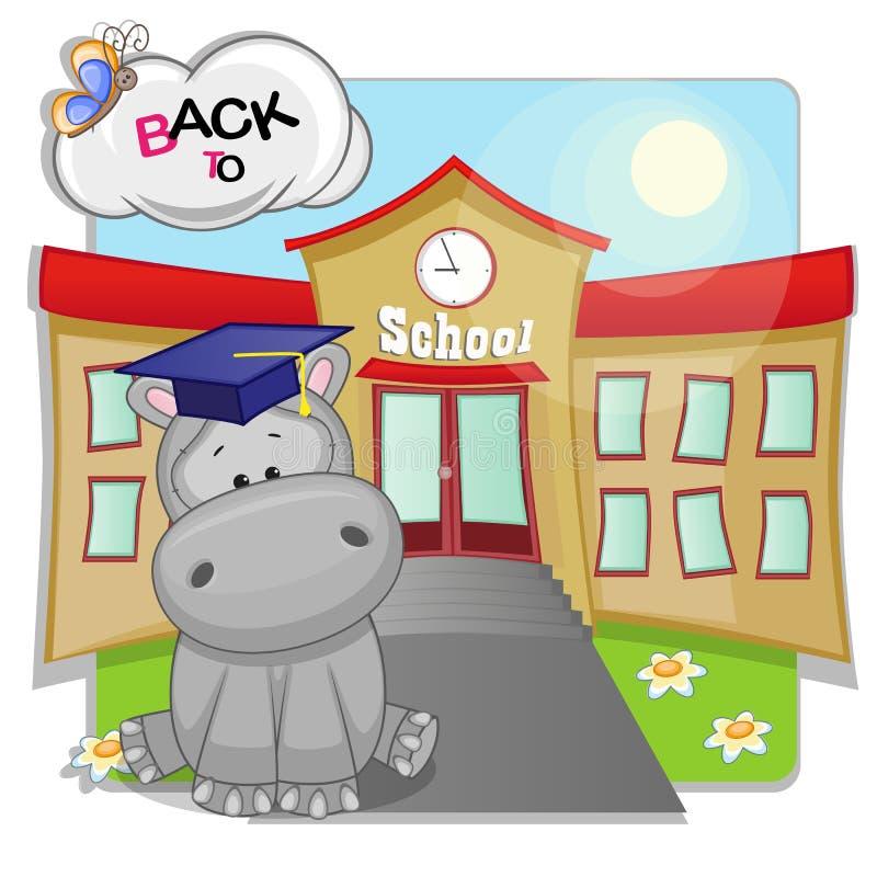 Flodhäst och skola stock illustrationer