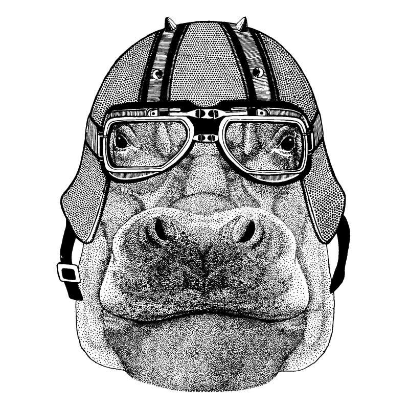 Flodhäst flodhäst, vidunder, flod-häst som bär en motorcykel, aero hjälm Utdragen bild för hand för tatueringen, t-skjorta stock illustrationer