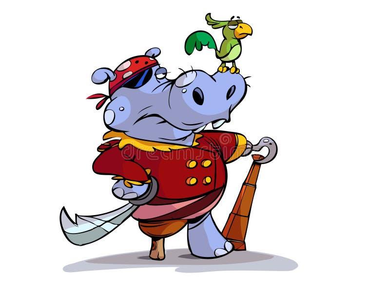 flodhästen piratkopierar stock illustrationer