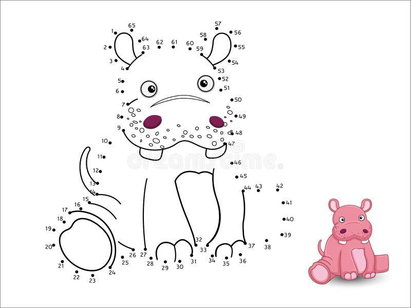 Flodhästtecknade filmen förbinder prickarna och färgar vektor illustrationer