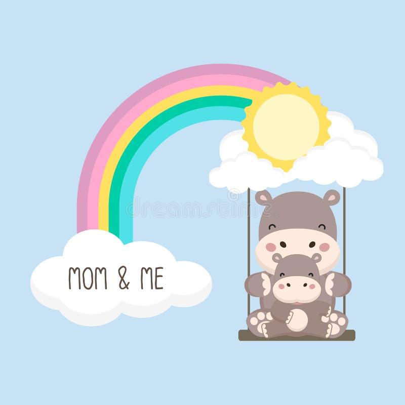 Flodh?st och att behandla som ett barn gunga p? en regnb?ge stock illustrationer