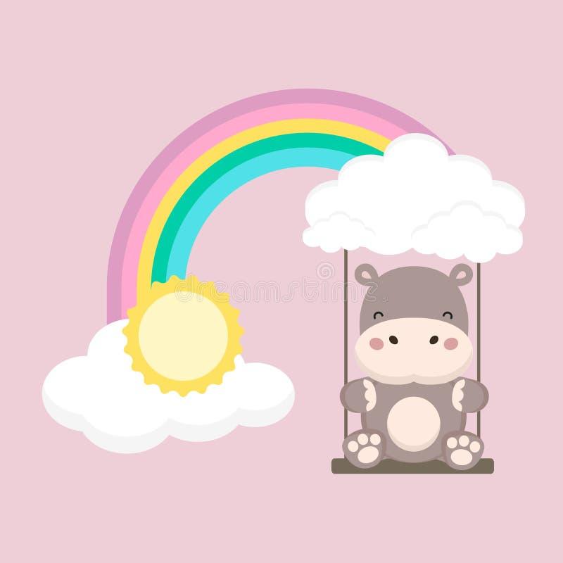 Flodh?st och att behandla som ett barn gunga p? en regnb?ge Moders illustration f?r vektor f?r kort f?r dag vektor illustrationer