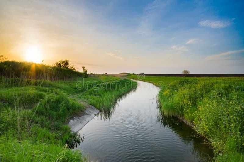 Flodkanalspring till och med äng arkivfoton