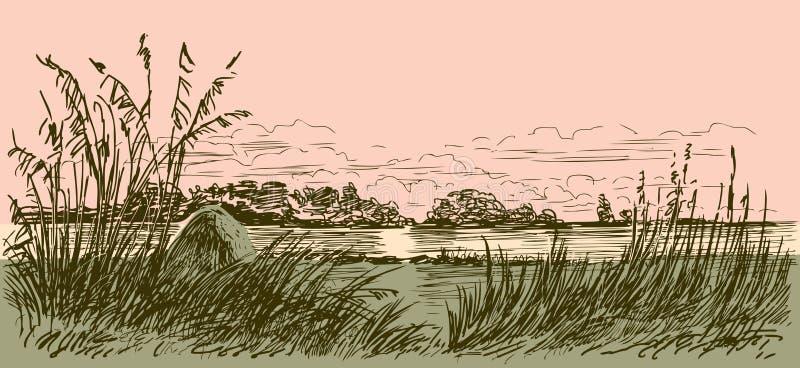 Flodkust i ottan vektor illustrationer