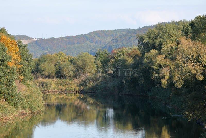 Flodlandskap av Werraen fotografering för bildbyråer