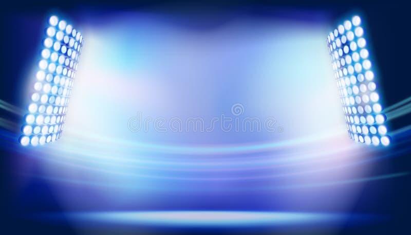 Flodljusen på stor stadion också vektor för coreldrawillustration vektor illustrationer