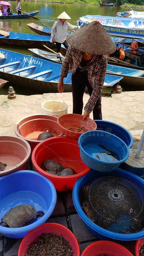 Flodmarknad på doftpagodgrottan royaltyfri bild