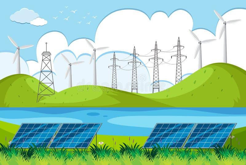 Flodplats med vindturbiner på kullarna stock illustrationer