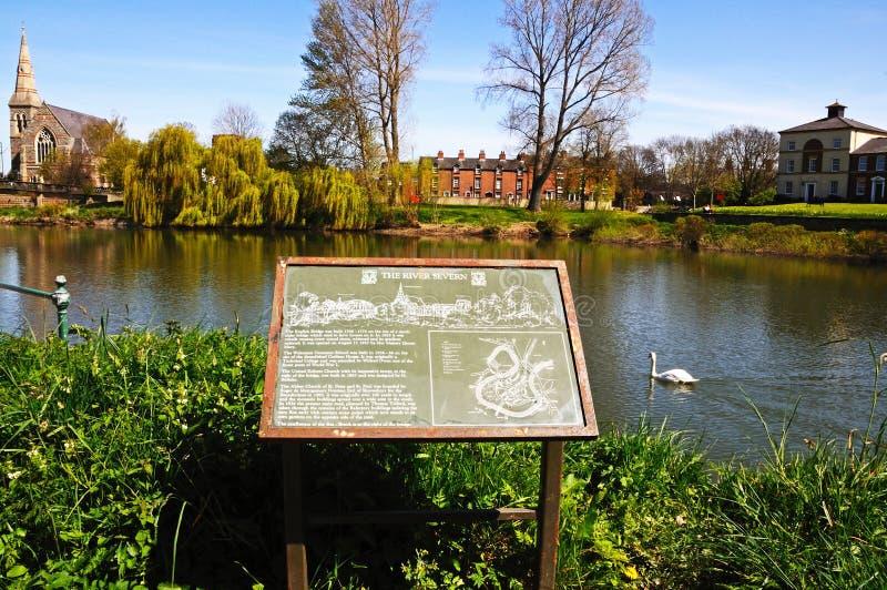 FlodSevern tecken, Shrewsbury fotografering för bildbyråer