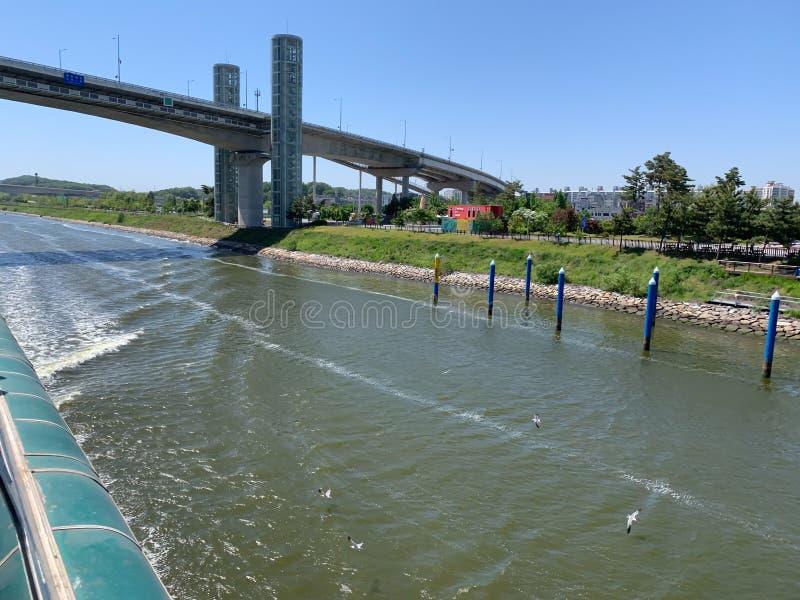 Flodsidan och bron arkivfoto