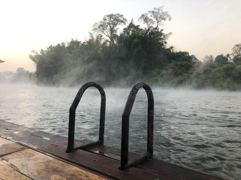 Flodstrand med skog- och dimmabakgrund royaltyfria foton