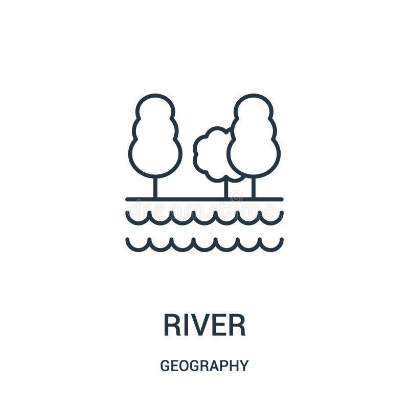 flodsymbolsvektor från geografisamling Tunn linje illustration f?r vektor f?r flod?versiktssymbol royaltyfri illustrationer