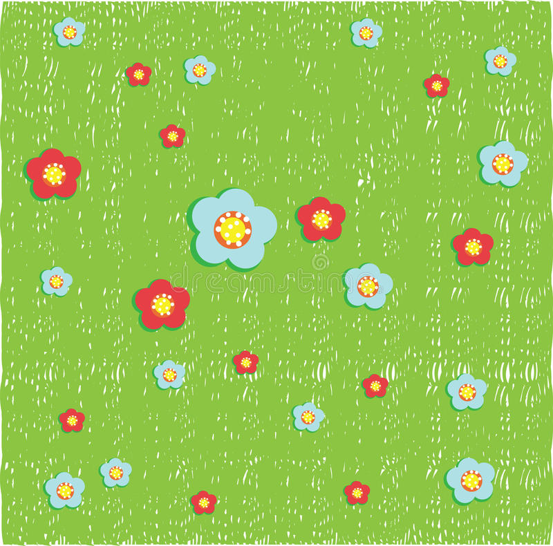 Floers on grass background stock illustration