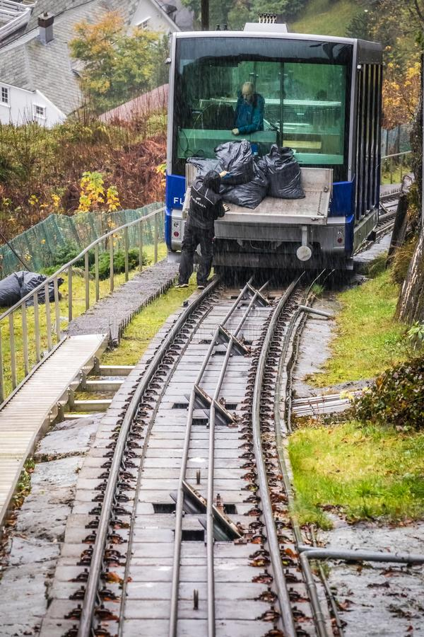 The Floibanen funicular delivering bags stock photography