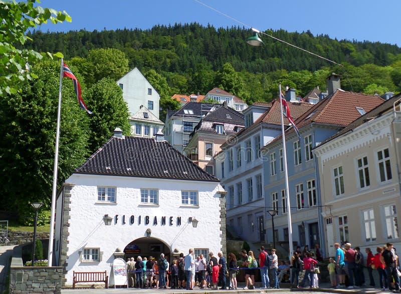 Floibanen, station funiculaire pour le funiculaire jusqu'au dessus du bâti Floyen, Bergen images stock