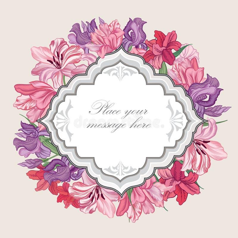 Flolar frame. Floral border. Vintage flourish background. stock illustration