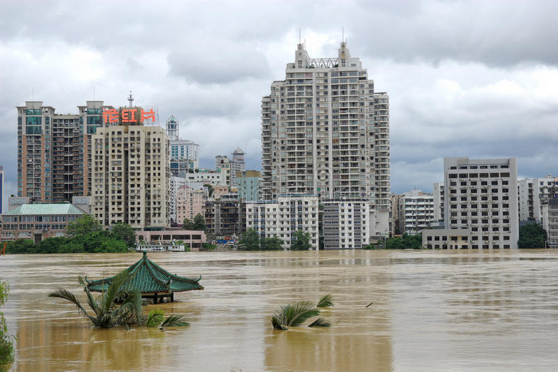 Flood. Liuzhou China, July 5, due to the heavy rainfall over the past few days, Guangxi Liujiang a flood higher than the warning level in some areas serious royalty free stock image