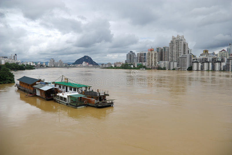Flood. Liuzhou China, July 5, due to the heavy rainfall over the past few days, Guangxi Liujiang a flood higher than the warning level in some areas serious royalty free stock images
