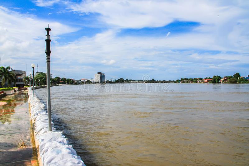 Flood, Asia, Thailand, 2015, Accidents and Disasters. Singburi Thailand - september 24 2015 : Dams created from sand bags. To prevent flooding caused by heavy royalty free stock images