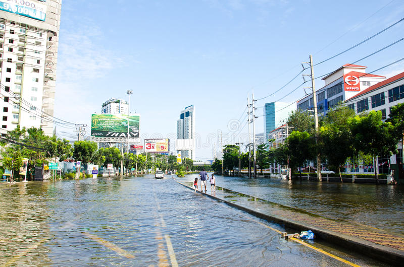 Flood in Bangkok, Thailand. BANGKOK THAILAND – NOVEMBER 13: Scenes The Siam Commercial Bank, Limited in Bangkok during its worst flooding in decades is a royalty free stock photo