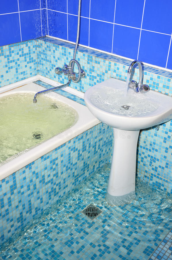 Flood in the bathroom stock images