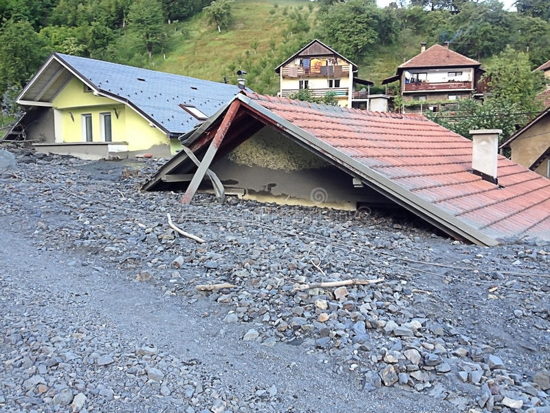 Flood in Bosnia. And Herzegovina, place Topcic Polje, exclusive royalty free stock photography