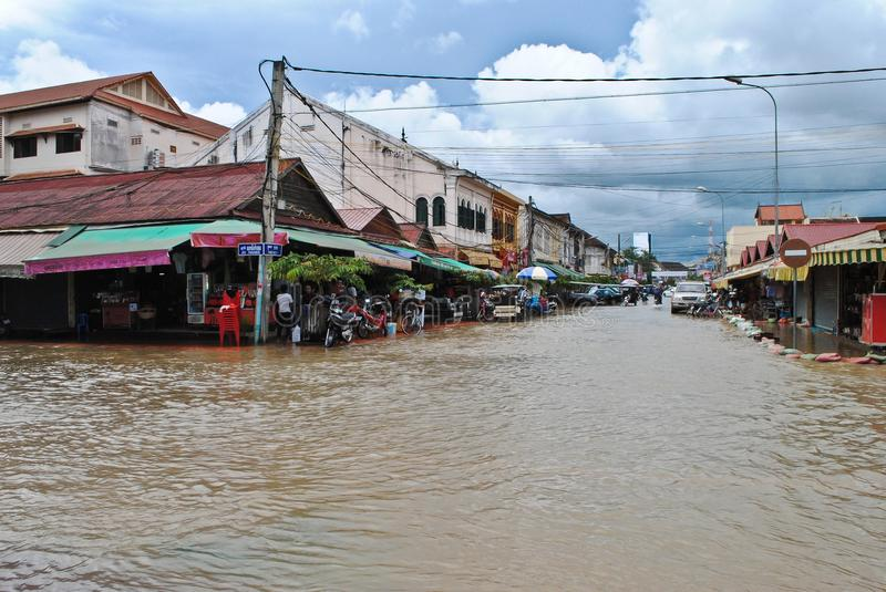 Flood in Cambodia. Flood in the street of Siem Reap stock image