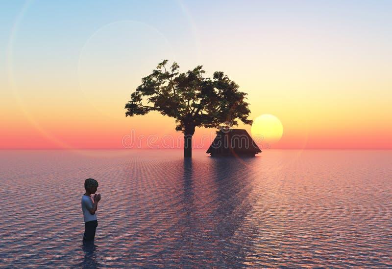 Download Flood with child stock illustration. Illustration of global - 23995050