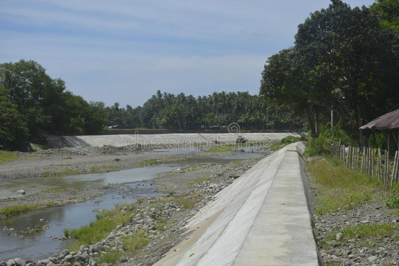 Flood Control System located at Digos river, Digos City, Davao del Sur, Philippines. stock image