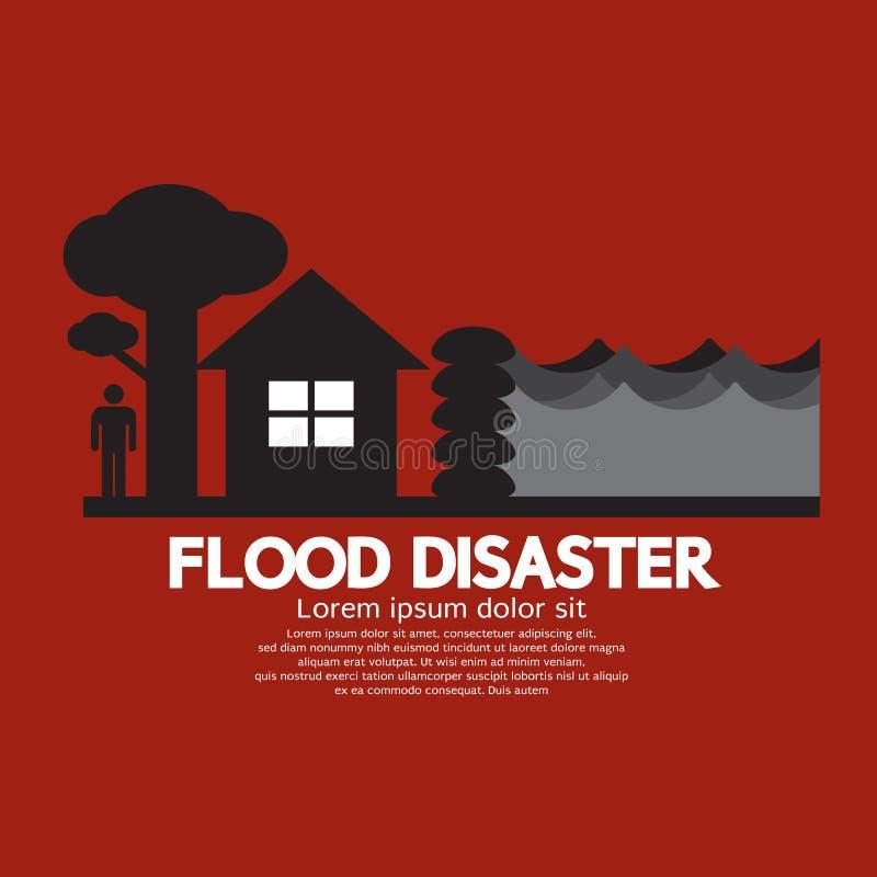 Flood Disaster With Sandbag Barrier. Vector Illustration stock illustration