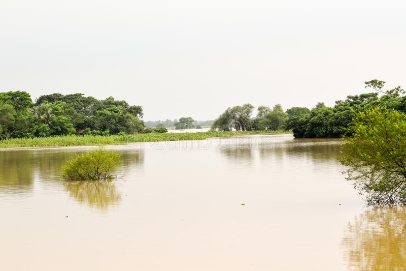 Flood. A flood situation occurred due to heavy incessant rain at the catchment areas of the river Damodar in West Bengal, India royalty free stock photos