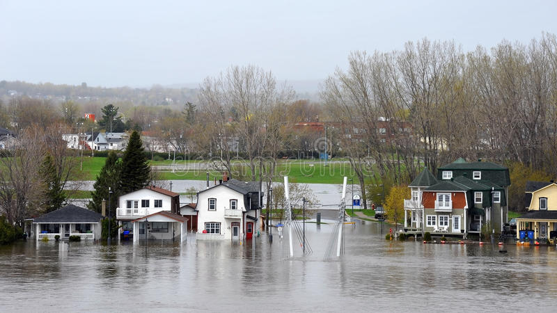 Flood in Gatineau Quebec stock images