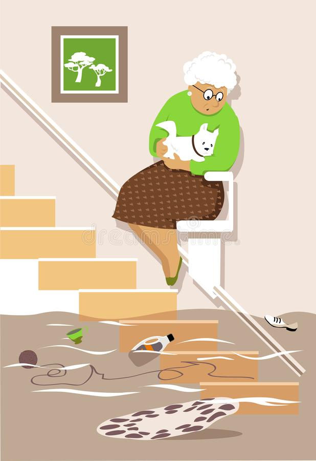 Flood in grandma`s house stock illustration