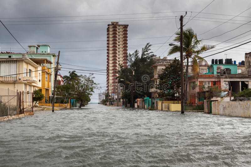 Flood in Havana, Cuba. royalty free stock photography