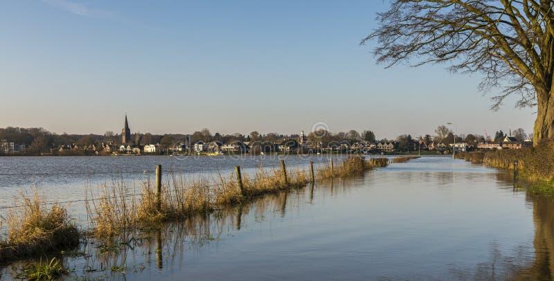 Flood IJssel at Dieren in The Netherlands. Flood plains at the river IJssel near Dieren in Gelderland stock photo