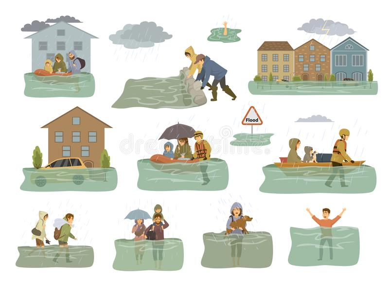 Flood infographic elements. flooded houses, city, car, people escape from floodwaters leaving houses, homes, rescue families anima vector illustration