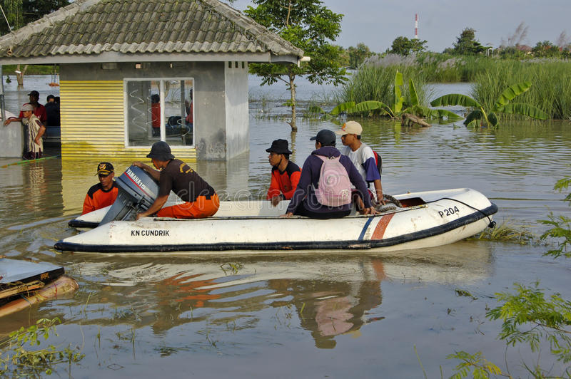 Flood in Karawang. Karawang, Indonesia - March 25: Flood in Karawang because global warming March 25 2010 in Karawang Indonesia royalty free stock images