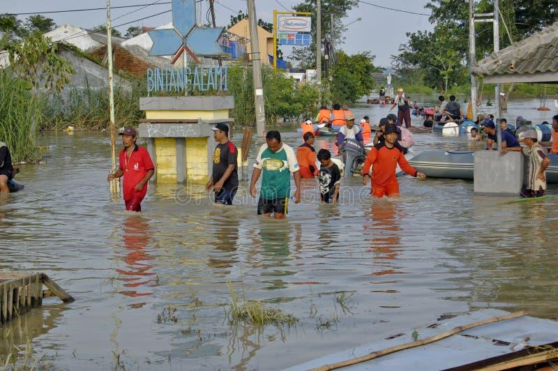 Flood in Karawang. Karawang, Indonesia - March 25: Flood in Karawang because global warming March 25 2010 in Karawang Indonesia stock photos