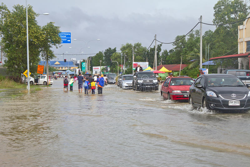 Flood at Malaysia - Thai Border. Heavy rains cause irregular flood in Rantau Panjang, Malaysia - Thai borders stock photography