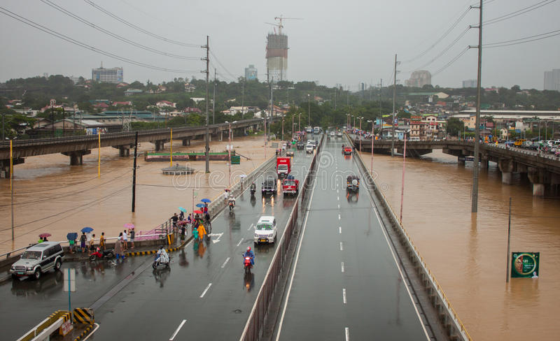 Flood in Manila, Philippines stock photo