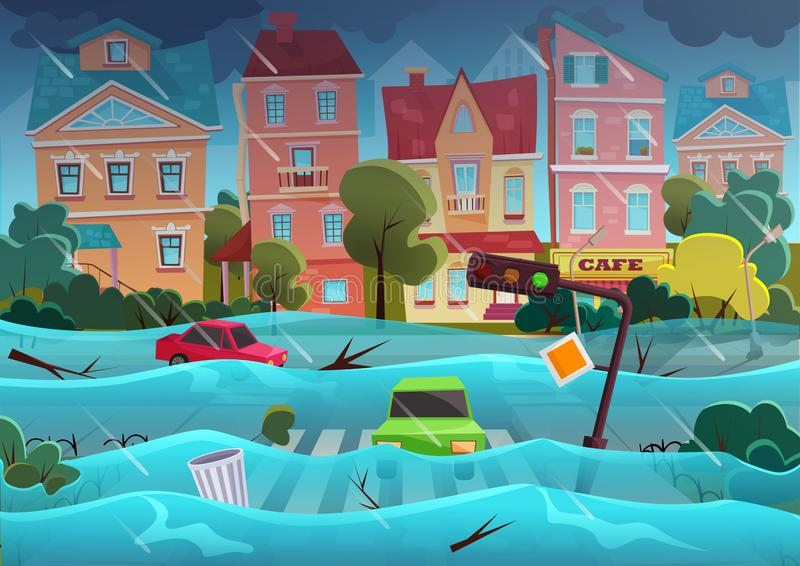 Flood natural disaster in cartoon city concept. City floods and cars with garbage floating in the water. Storm city stock illustration