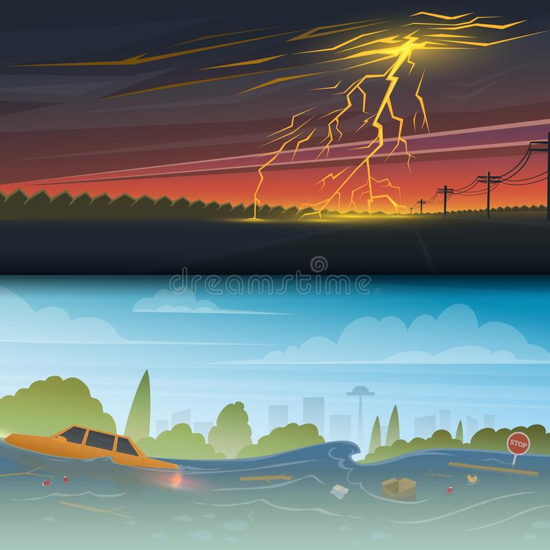 Flood or natural disaster. Lightning Strike and Rain. Thunderstorm day. Floating garbage. High water, overflow, big vector illustration