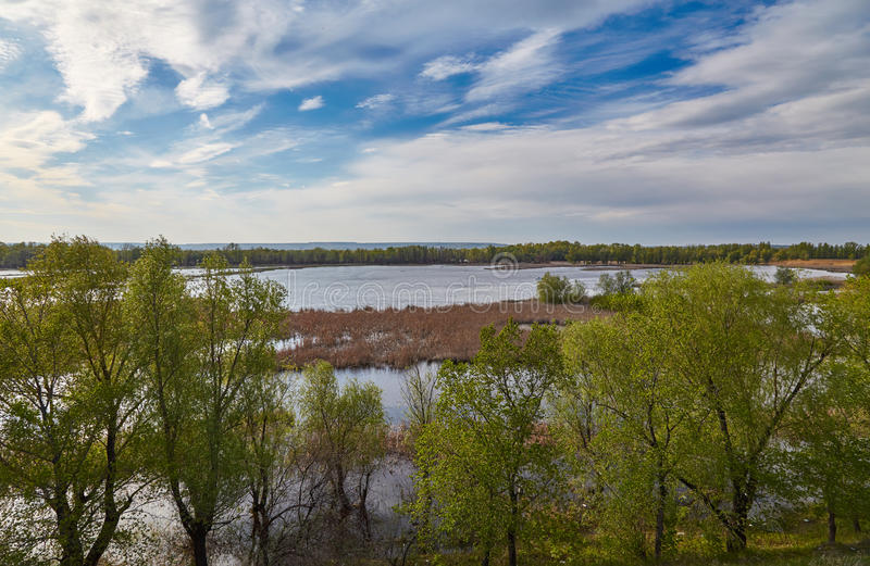 Flood plain of Volga late spring. Flood of Volga in the spring, clouds, grass and trees stock photography