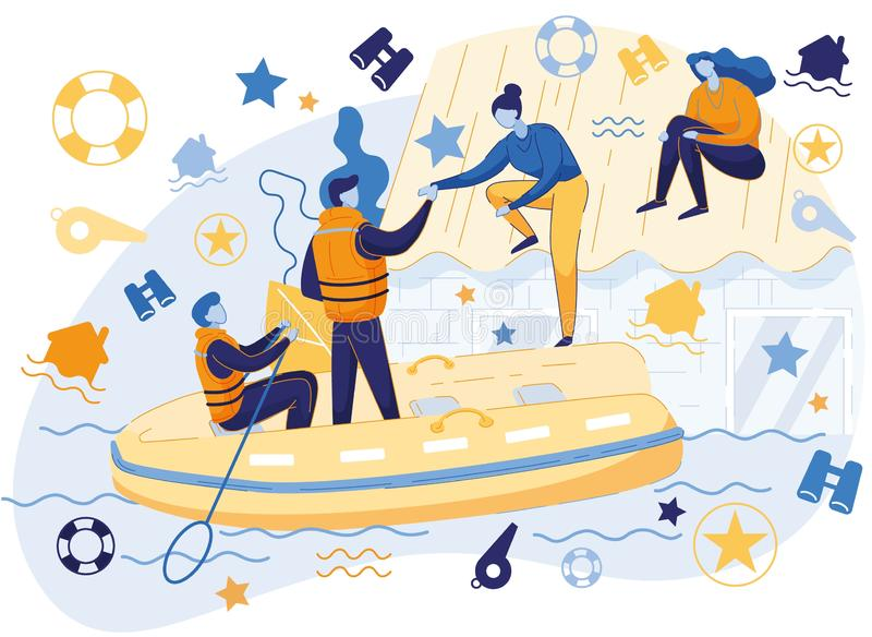 Flood Rescuers in Boat Saving People from Water stock illustration