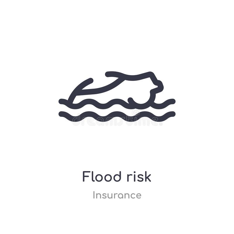 flood risk outline icon. isolated line vector illustration from insurance collection. editable thin stroke flood risk icon on royalty free illustration