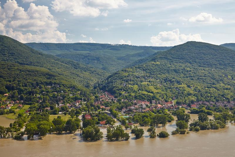 Flood river landscape. Flooding river inundating a village at river Danube`s record high level in 2013 royalty free stock photography
