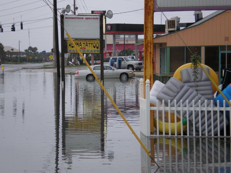 Flood storm damage rain hurricane tornado deluge stock image
