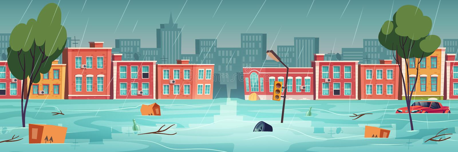 Flood in town, river, water stream on city street. Natural disaster with rainstorm. Vector cartoon illustration of urban landscape with flooded houses royalty free illustration